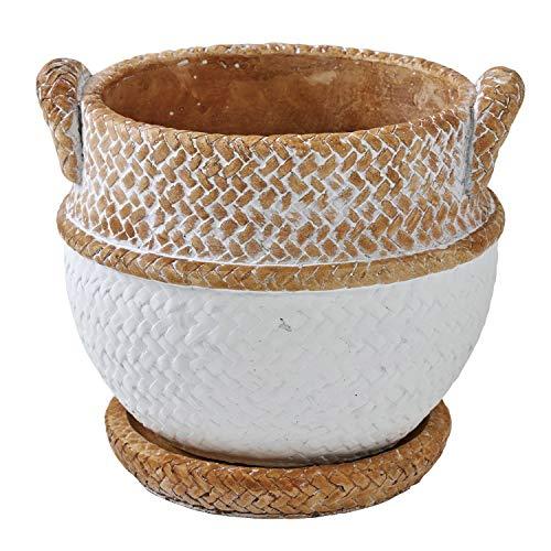 SPICE OF LIFE(スパイス) 植木鉢 編みかごプランター チャビー ホワイト Sサイズ 幅13.5cm 奥行12.5cm 高さ12cm CBGZ1021WH