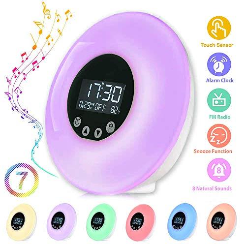 Wake Up Light, Careslong Luce Sveglia da Comodino, 8 Suoneria con Simulazione Alba/Tramonto, Luce Notturna Sveglia con FM Radio Funzione snooze, con 9 Colori e 10 livelli di luminosità Controllo Touch