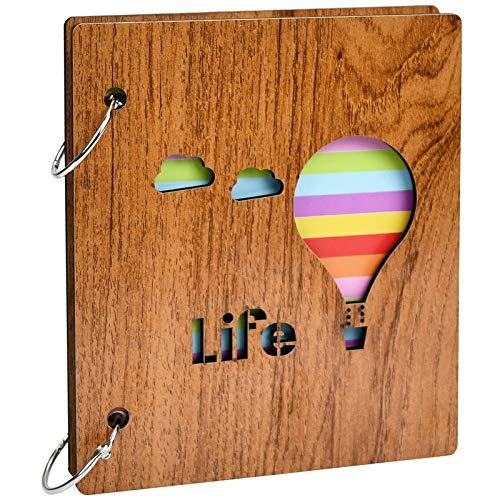 Scrapbook Album Holz 3 Zoll Fotoalbum Handgefertigte DIY Scrapbook Buch Geburtstag Geschenk Memory Books für Familie Kinder und Freund Hält 100 Fotos (Ballon)