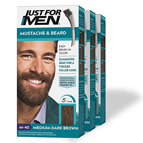 Just For Men Mustache & Beard, Beard Coloring for Gray Hair with Brush Included for Easy Application, With Biotin Aloe and Coconut Oil for Healthy Facial Hair - Medium-Dark Brown, M-40, 3 Pack