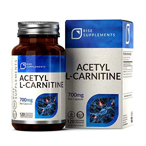 ALCAR Acetyl L Carnitine 700mg [Alta Resistencia], 120 Cápsulas Veganas | Suplementos de gimnasia y entrenamiento | Para la salud del cerebro y la función cognitiva | Aumento de suplementos