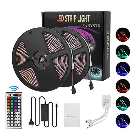 Tiras LED 10M 5050 RGB Tiras de Luces LED Iluminación con 300 12V, Adaptador de Alimentación 5A Impermeable IP65, Control Remoto de 44 Claves LED Kit Completo [Clase de eficiencia energética A+]