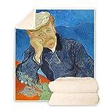 LIFUQING Van Gogh Ölgemälde Tagesdecke Decke Sofa Sherpa Decke Kinder-130X150Cm