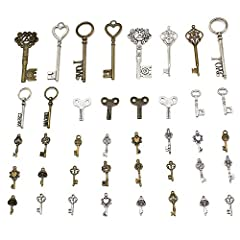 Mila-Amaz 40 Pieces Antique Bronze Vintage Skeleton Key Charms Steampunk Accessories for Handmade Jewelry Making - Bronze, Silver #2