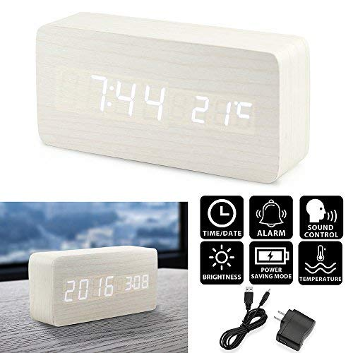 Amazon.com: Oct17 Wooden Digital Alarm Clock, Wood Fashion Multi-function LED Alarm Clock with USB Power Supply, Voice Control, Timer, Thermometer - White: ...