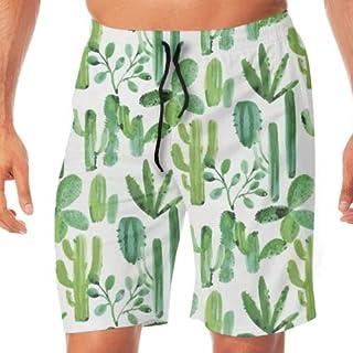 メンズ 水着 Green Cactus サーフパンツ オシャレ スウェット 通気 速乾 メッシュインナー 海パン 水陸両用 温泉 ジョギング 大きサイズ M~2XL