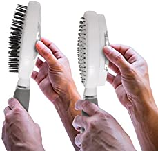 Qwik Clean Self Cleaning Hair Brush - Easy Clean Detangle Brush or Comb - Retractable Brush Detangler for Wet or Dry Hair - Adults & Kids - by Qwik Clean - (White)