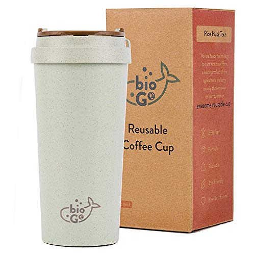 bioGo Cup | Rice Husk Fibre | BPA-Free, Double Wall Insulation Reusable Coffee Cups | On-The-Go Travel Mug | Screw Tight Lid | Textured Grip | Ultra Lightweight |(450ml, Pastel Grey)