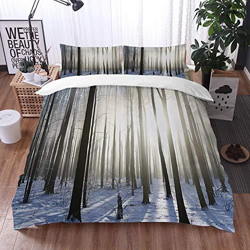 Mingdao bedding - Duvet Cover Set, Woodland Wintertime Forest On A December Morning Snowy Sunshine Shadows Trunk,Microfibre Duvet Cover Set 240 x 260 cmwith 2 Pillowcase 50 X 80cm