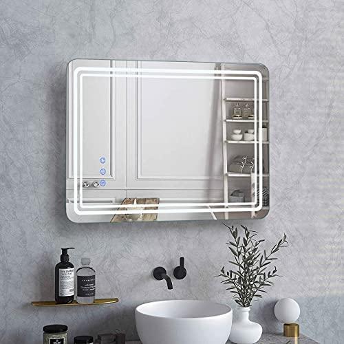 WOOHSE Badspiegel 50x70cm, Badezimmerspiegel mit LED Beleuchtung Dimmbar, Wandspiegel mit Touch-Schalter, IP65 Anti-Beschlag, Speicherfunktion, Lichtspiegel mit 3 Lichtfarben für Gäste-WC, Wohnräume