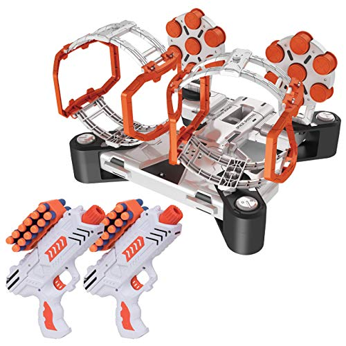 USA Toyz AstroShot Gyro Rotating Target Shooting Games - Compatible Nerf Targets w/ 2 Blaster Toy Guns and 24 Foam Darts