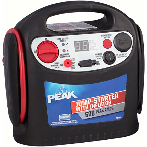 PEAK Portable Jump Starter with Inflator, 600 AMP