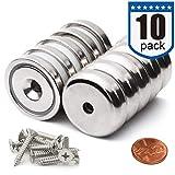 10 pezzi Svasata hole magneti al neodimio a disco 32x6 mm Forte permanente magneti in terre rare, con 10 viti