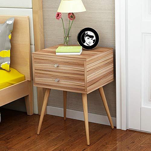 FEI Table de chevet de stockage de table de nuit cubique de niveau de la table de nuit 2 avec le tiroir vrai bois de paulownia normal (Couleur : Chêne, taille : 2 darwer)