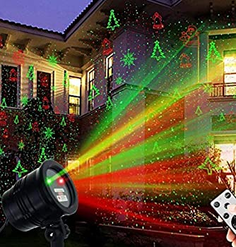 Snowflake Las-e-r Projector Lights Magical Christmas Lights with RF Remote Green Red Projector Light Shows Christmas Tree Snowflake Santa Claus and Flame for Holiday Christmas Decorations
