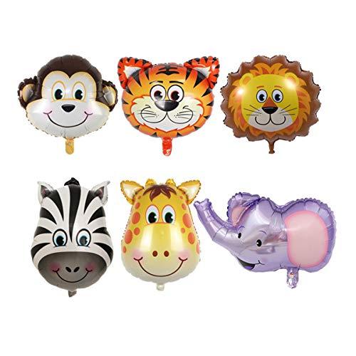 JOJ 6pcs Palloncini di Alluminio Medio Testa Animale di Alluminio Carino Decorazione Festa di Compleanno Forniture (Zebra + Leone + Scimmia + Tigre + Elefante + Cervo)