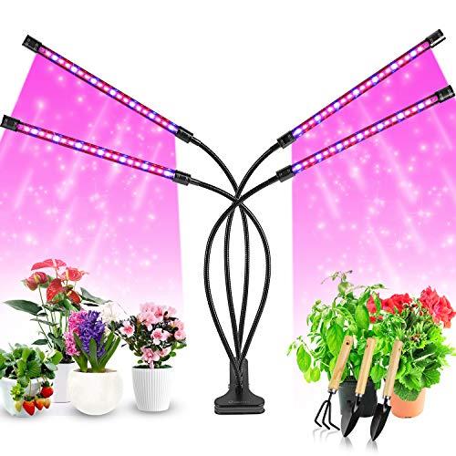 Pflanzenlampe LED, Pflanzenlicht, 40W Pflanzenleuchte, 4 Heads 80 LEDs Wachsen licht, Vollspektrum Wachstumslampe für Zimmerpflanzen mit Zeitschaltuhr, 3 Arten von Modus, 8 Arten von Helligkeit.