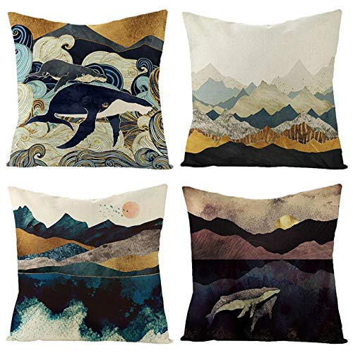 NSWMDSTD Throw Pillow Cover,4Pcs Whale In The Waves Throw Pillow Cases Cushion Cover Decorative Linen Square Single-Sided Printing Pillow Covers For Home Office Sofa Couch Car 45 * 45Cm