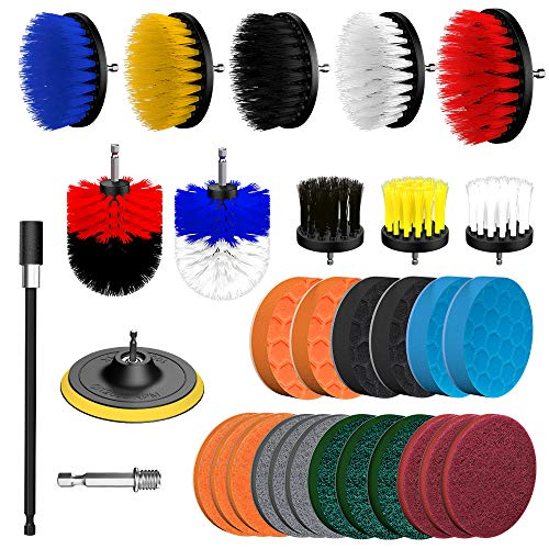 32 Piece Drill Brush Attachment Set, Yasolote Power Scrubber Drill Brush Kit, Scrub Brush With Extend Long Attachment, Scrubing Pads Cleaning Kit For Tile Sealants, Bathtub, Sinks, Floor, Wheels, Carp