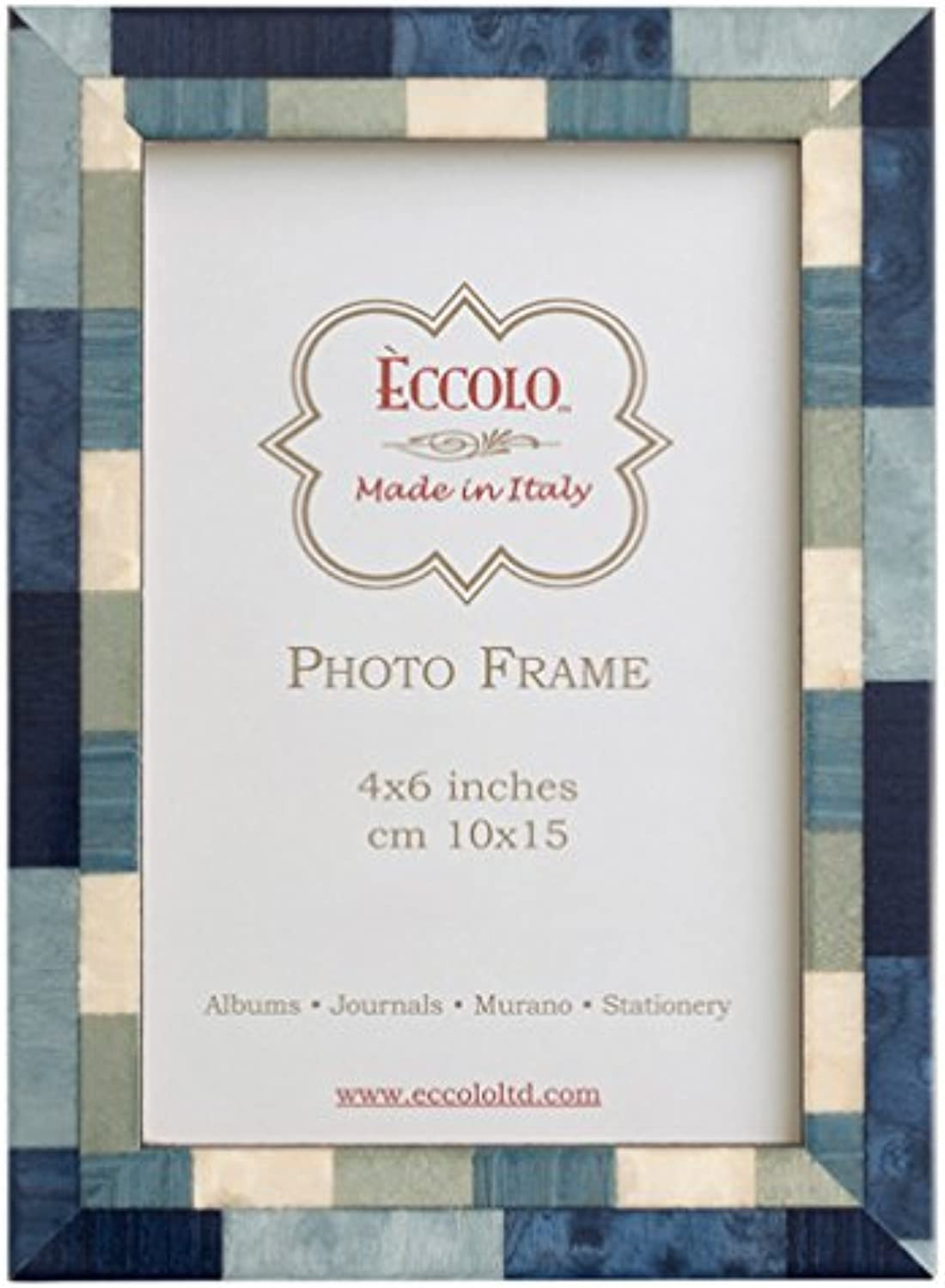 Eccolo Marquetry Frame, 5 by 7-Inch, Mixed Up bluee