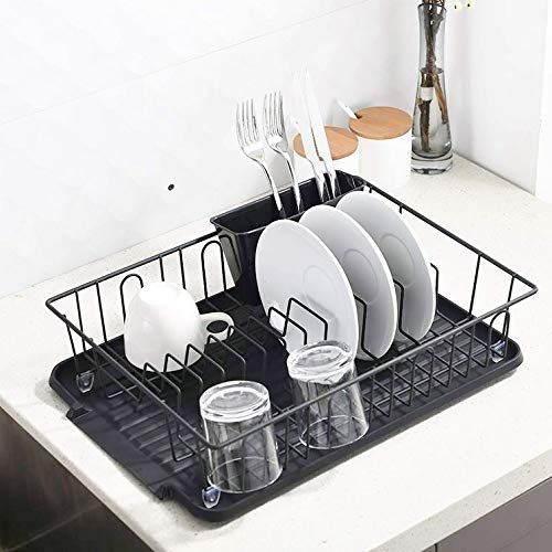 Popity home Quality Kitchen Sink Side Draining Dish Drying RackDish Rack with Black Drain