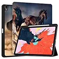 """MAITTAO iPad Pro 12.9 Case 2018 [Support Apple Pencil Holder & Pencil Charging],Folio Stand Protective Smart Cover For iPad Pro 12.9"""" 3rd Gen With Tablet Sleeve Bag 2 in 1 Bundle, Akhal-Teke Horse 2"""