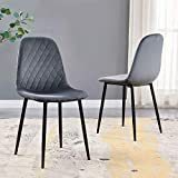 SHOWVISION Set of 2 Dining Chairs Velvet Fabric, Upholstered Seat and Backrest with Black Metal Legs, Kitchen Bedroom Dressing Lounge Table Side Chairs (Grey,2pcs)