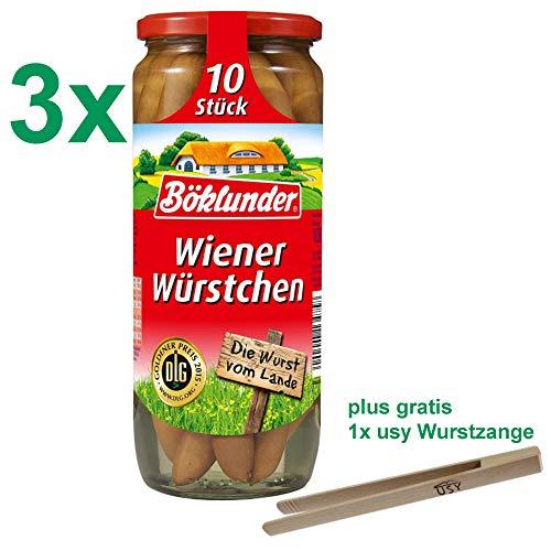 Böklunder Wiener Würstchen PARTYPACK (3x500g Glas) = 30 Würstchen mit usy Wurstzange