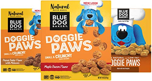 Blue Dog Bakery Natural Dog Treats, Doggie Paws Variety 3 Pack, Maple Bacon 18oz - Pumpkin 16oz - Peanut Butter 18oz (3 Count - 1 of Each Flavor)