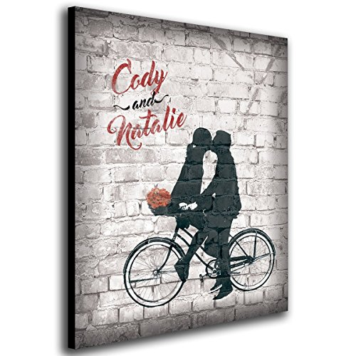 Built for Two - Personalized Banksy Style Romantic Graffiti Art for Wedding, Anniversary, or Other Gifts. (16 x 20)