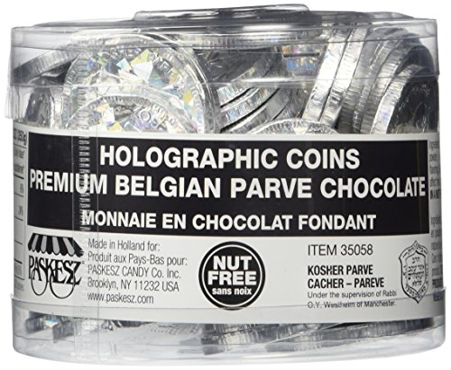 70 In a Tub Nut Free Holographic Foil Wrap Hanukkah Chocolate Gelt Coins - Parve