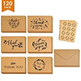 Thank You Cards Set of 120 - Includes Thank You Notes,Brown Kraft Blank Cards with Envelopes & Stickers - Perfect for Graduation, Business, Wedding, Baby Shower, 4×6 Inch