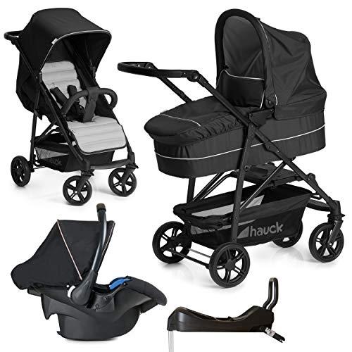 Hauck 10-teiliges Kinderwagen Set 3in1 - Rapid 4 Plus Trio Set - inkl. Babyschale (Maxi-Cosi) & Isofix-Basis für Auto/Kombikinderwagen ab Geburt bis 25 kg
