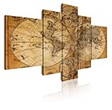 DekoArte 67 - Cuadros Modernos Impresión de Imagen Artística Digitalizada | Lienzo Decorativo para Tu Salón o Dormitorio | Estilo Mapamundi Mapa del Mundo Antiguo | 5 Piezas 180x85cm XXL