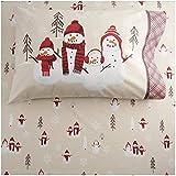 Heavyweight Flannel Sheet Set Snowman Snow Family (King)