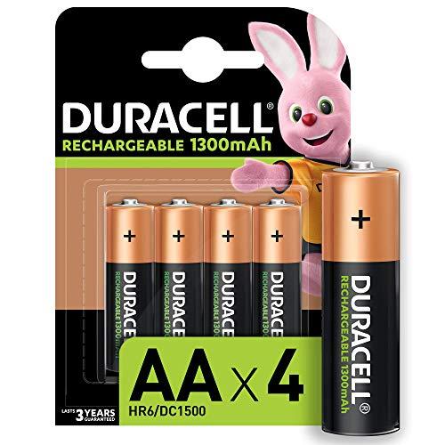 Duracell Rechargeable AA 1300 mAh Mignon Akku Batterien HR6, 4er Pack