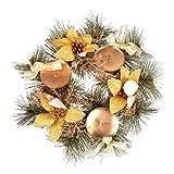 LIOOBO Anillo de Vela de Navidad Flor de Pascua Corona de Anillo de Vela para pilares Decoraciones de Mesa de Navidad centros de Mesa (Dorado)