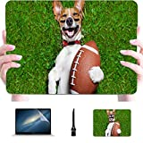 Macbook Air Laptop Case Soccer Dog Holding Rugby Ball Laughing Plastic Hard Shell Compatible Mac Laptop Protective Case Protection Accessoires for Macbook with Mouse Pad