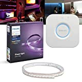 Philips Hue LED LightStrip Plus 2m Starter Set + Bridge | RGBW, Sprachsteuerung, App-Steuerung