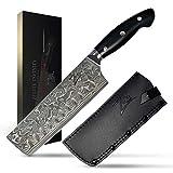 Zelite Infinity Nakiri Chef Knife 7' - Executive-Plus Series - Japanese Damascus AUS10 Super Steel 45-layer, G10 Handle, Leather Sheath