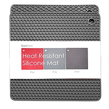 BasicForm Silicone Trivet Square Honeycomb Pattern 7.4x7.4x0.3 Inches (Set of 2) (Gray)