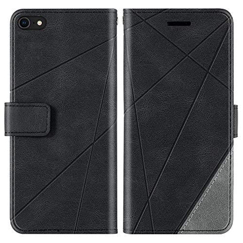 KKEIKO Funda para iPhone SE 2020 / iPhone 8 / iPhone 7, funda de piel sintética con tapa y ranura para tarjetas, carcasa de TPU antigolpes para iPhone SE 2020 / iPhone 8 / iPhone 7, color negro