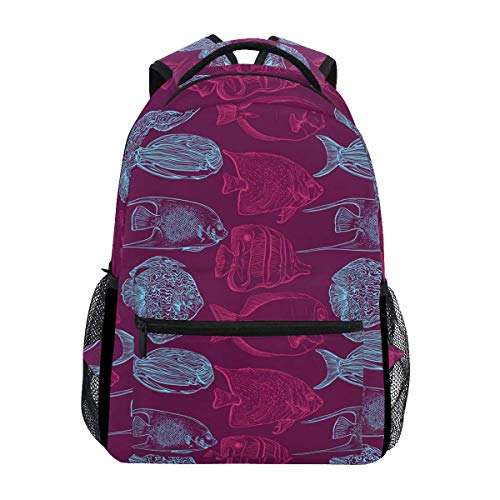 Daypacks Fisch Tropical Aquarium College Langlebig Bedruckte Student Bookbag Geschenk Umhängetasche Stylish Casual School Rucksack Travel Lightweight Einzigartig
