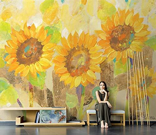 HUATULAI fotobehang fotobehang wandbehang zonder naad Scandinavische naden in de hand geschilderd uit de zonnebloem van papier van Del Salone Tv Del vloer van papier P 200 * 140cm/W*h