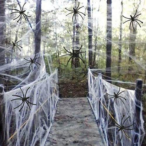 JuguHoovi Halloween Deko Spinnennetz, Halloween Spinnweben Dekoration Spinnennetz 6 Pack 120g mit 20 Spinnen für Kamin Tür Karneval Halloween Party Grusel Deko Tischdekoration