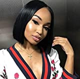 Maxine Human Hair Bob Wigs 13x4 Lace Front Wigs with Adjustable Strap Pre Plucked Short Bob Wig Brazilian Straight Hair Wigs Natural Hairline (10 inch Natural Color)