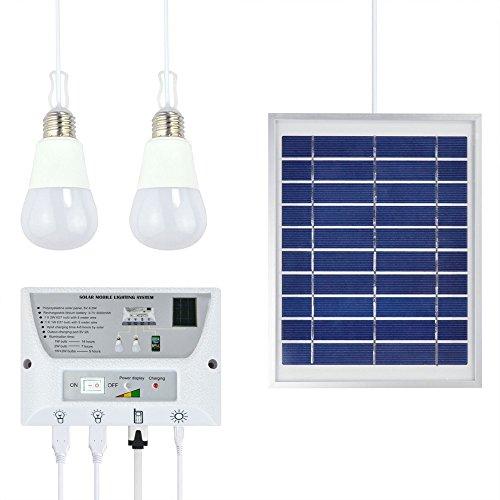 Katomi portatile-Sistema di illuminazione a energia solare per cellulari Home luci di emergenza Power Pack per interni ed esterni