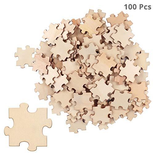 BELLE VOUS Puzzle Spiel aus Holz (100-teilig) - Blanko Holzpuzzle aus Unbehandeltem Holz 4,5x3,8x0,2cm – Leere Puzzleteile aus Holz zum Basteln, Scrapbooking, Hochzeitspuzzle, Deko