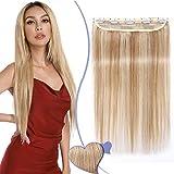 Elailite Extensiones Pelo Natural Clip de Cabello Humano Postizos Lisa - 20cm #18/613 Ash Rubio/Blanqueador Rubio (Una Pieza 5 Clips) 100% Remy Human Hair
