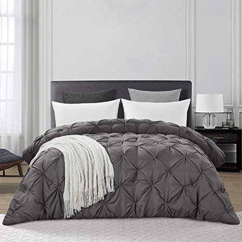 HOMBYS Grey Queen Size Goose Down Alternative Quilted Comforter